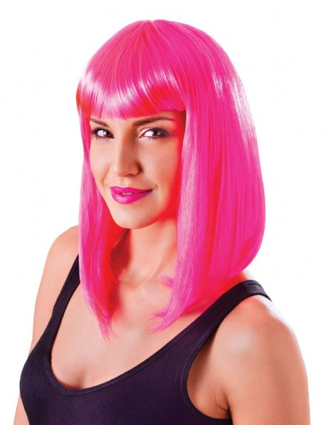 Ladies Coloured Disco Chic Doll Neon Wig 70s Pop Music Night Fever Fancy Dress